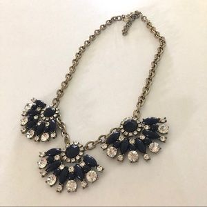 J Crew Navy and Crystal Statement Necklace